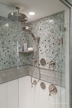 Contemporary Master Bathroom with frameless showerdoor, Tile bar - lancaster 3x12 bianco ceramic tile, Master bathroom