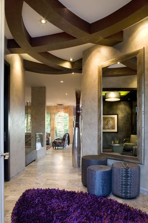 Contemporary Hallway with Florentine Silver Leaf Mirror, Curved Wood Ceiling Beam, Faux Finish Wall Treatment