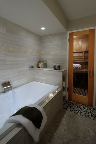 Contemporary Master Bathroom with French doors, M s international oyster beige marble tile, Master bathroom, Sauna