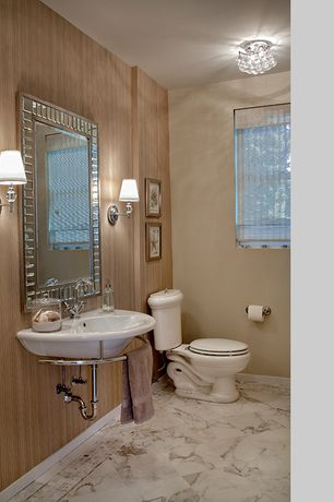 Traditional Powder Room with Wall sconce, Casement, stone tile floors, Standard height, flush light, Powder room, Paint 1