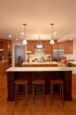 "Modern Kitchen with Large Ceramic Tile, electric cooktop, Winsome saddle 29"" bar stool, dishwasher, U-shaped, Undermount sink"