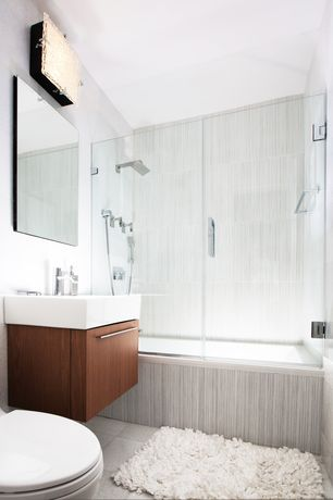 Contemporary Master Bathroom with Flush, European Cabinets, tiled wall showerbath, Wildon Home Shaggy Raggy White Area Rug
