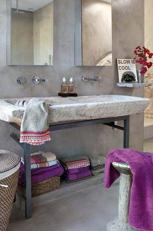 "Rustic Master Bathroom with Concrete floors, Virtu USA Confiant 20"" Modern Mirrored Medicine Cabinet, Mirror, Paint 1, Shower"
