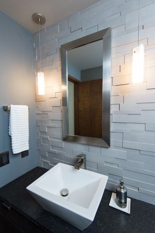 Contemporary Powder Room with Ms international black antique granite, Powder room, Pendant light, Vessel sink, Subway Tile