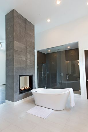 Contemporary Master Bathroom with Freestanding, American Olean Legacy Glass Designer Essentials Legacy Glass Mosaic Tile
