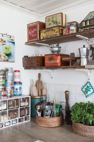 Eclectic Kitchen with West Elm Reclaimed Wood Shelf + Basic Brackets, Concrete countertops, Painted wood panel ceiling
