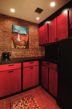 Traditional Kitchen with M Rock Install-With-Screws Manufactured Stone - Brick Richmond Red, L-shaped, High ceiling, Flush