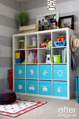 Contemporary Playroom with Built-in bookshelf, Ikea kallax shelving unit, interior wallpaper, Carpet, Pendant light