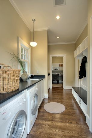 Traditional Laundry Room with Laminate floors, Built-in bookshelf, Pendant light, Crown molding, Schoolhouse pendant