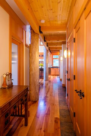 Rustic Hallway with Mission Style Console Table, French doors, flush light, Wall sconce, Exposed beam, Hardwood floors