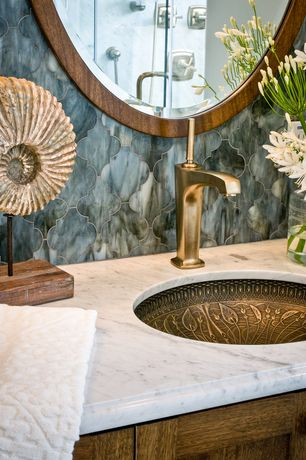Eclectic Master Bathroom with Kohler Lilies Lore Cast Bronze Undermount Bathroom Sink, Ms international carrara white marble