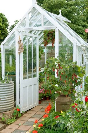 Landscape/Yard with Glass panel door, Glass greenhouse, picture window, Casement, Traditional greenhouse, Fence, Skylight