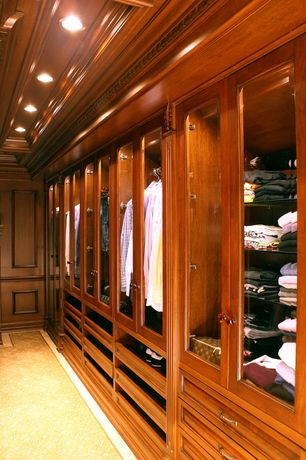Traditional Closet with Chair rail, Carpet, Exposed beam, Built-in bookshelf