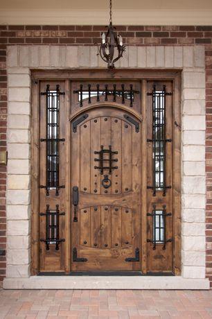 Mediterranean Front Door with exterior stone floors, Glass panel door, Rustic Exterior Doors