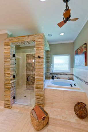 Modern Master Bathroom with stone tile floors, Paint 1, Daltile crema decorative accent si50, Master bathroom, can lights