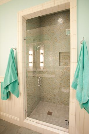 Traditional 3/4 Bathroom with Wainscotting, frameless showerdoor, Handheld showerhead, Wall sconce, Crown molding