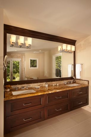 Craftsman Master Bathroom with Flat panel cabinets, Onyx counters, Undermount sink, Double sink, Flush, French doors