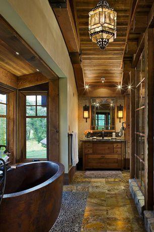 Rustic Master Bathroom with Flat panel cabinets, Hammerton Custom Luxury Lighting, Complex Granite, Pendant light, Bay window