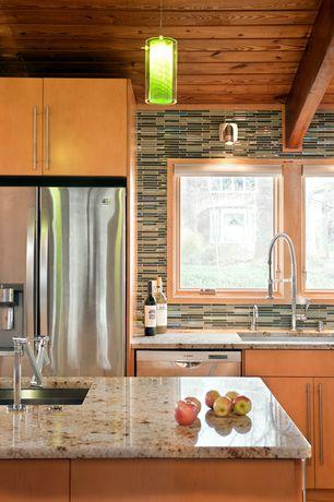 Contemporary Kitchen with Ms international golden riviera granite, Quorum 882-3265 1Lt Clr/Green Pendant - Stn