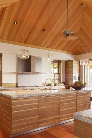 Contemporary Kitchen with Pendant light, Somertile reflections sandstone glass mosaic tile (case of 64), Kitchen island