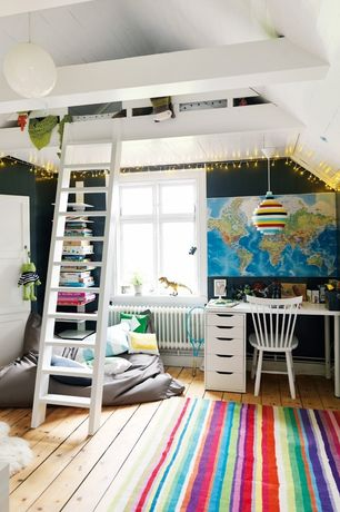 Contemporary Kids Bedroom with Pendant light, Exposed beam, Art desk, Hardwood floors, Bunk beds, Built-in bookshelf