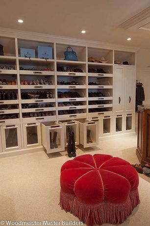 Contemporary Closet with Kedleston Dusty Rose and Gold Solid Velvet Ottoman, Carpet, Built-in bookshelf, Crown molding