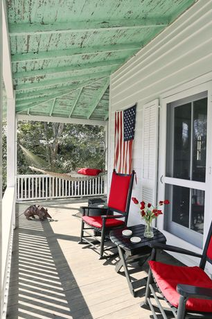 Country Porch with Gift Mark Home Adult Resting Tall Back Rocking Chair, Wrap around porch, French doors