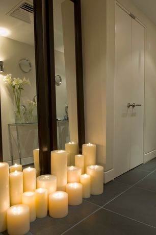 Contemporary Hallway with Wall sconce, stone tile floors, soapstone tile floors, French doors, High ceiling