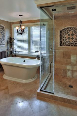 Mediterranean Master Bathroom with Shower, Crown molding, Freestanding, Master bathroom, Standard height, Chandelier, Bathtub