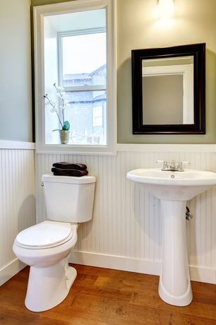 Contemporary Powder Room with Martha Stewart Living Grasmere 30 in. x 24 in. Black Framed Mirror, Hardwood floors