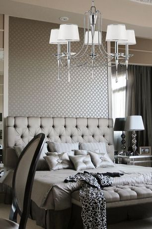 Contemporary Master Bedroom with Mirrored furniture, Throw blanket brocade pattern, Carpet, Upholstered tufted bench
