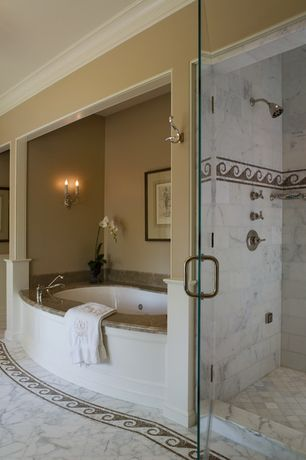 Traditional Master Bathroom with Bathtub, complex marble floors, Master bathroom, frameless showerdoor, drop in bathtub