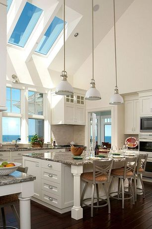 Traditional Kitchen with Hickory Hardware Williamsburg 3 in. Cup Pull, High ceiling, Undermount sink, Flat panel cabinets
