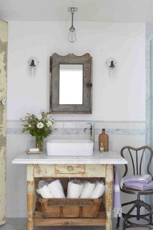 Eclectic Full Bathroom with Wall sconce, Powder room, Kraus model# kcv-121 vessel sink in white, Vessel sink, Subway Tile