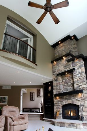 Traditional Living Room with Carpet, stone fireplace, Pearl Mantels Crestwood Transitional Fireplace Mantel Shelf, Balcony