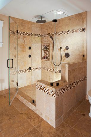Craftsman Master Bathroom with Daltile fantesa cameo 12 in. x 12 in. glazed porcelain floor and wall tile