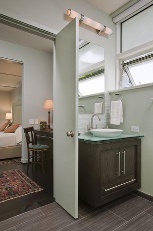 Modern Full Bathroom with Powder room, Glass counters, Flat panel cabinets, Vessel sink, Ikea lansa handle, Flush