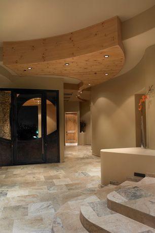 Contemporary Entryway with travertine tile floors, Glass panel door, Polished tall organic vase- 135cm