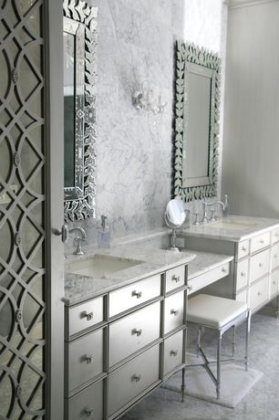 Traditional Master Bathroom with Glass panel door, Flat panel cabinets, Master bathroom, Complex marble counters, Stone Tile