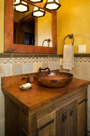 Country Powder Room with Vigo vessel sink in russet and faucet set in browns, Paint 1
