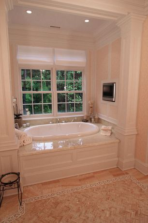 Traditional Master Bathroom with Crown molding, Master bathroom, Signature Hardware Leith Acrylic Drop-in Air Tub