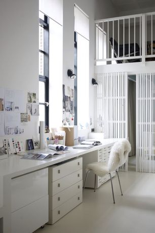Contemporary Home Office with High ceiling, Wall sconce, Loft, specialty door, Concrete floors, Box ceiling