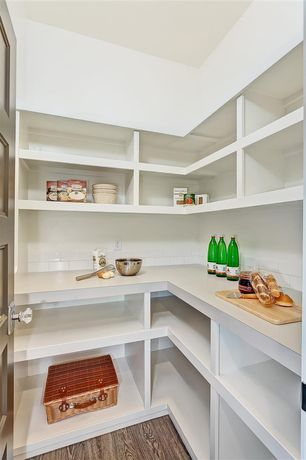Contemporary Pantry with Hardwood floors, Built-in bookshelf, Standard height