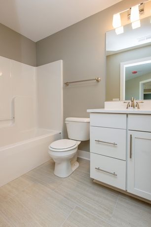Modern Full Bathroom with shower bath combo, Paint, Undermount sink, One piece tub shower unit, Flush, Flat panel cabinets