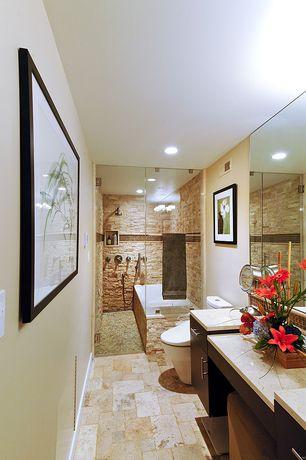 Contemporary Full Bathroom with frameless showerdoor, Ceramic Tile, Arizona tile vieux monde limestone, tiled wall showerbath