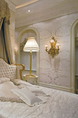 Traditional Guest Bedroom with Crown molding, interior wallpaper, Wall sconce