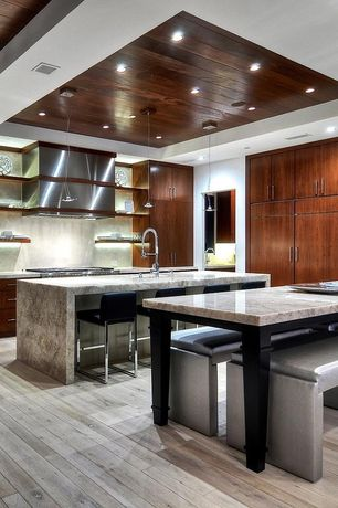 Contemporary Kitchen with Pendant light, Limestone, European Cabinets, Complex marble counters, Undermount sink, Flush
