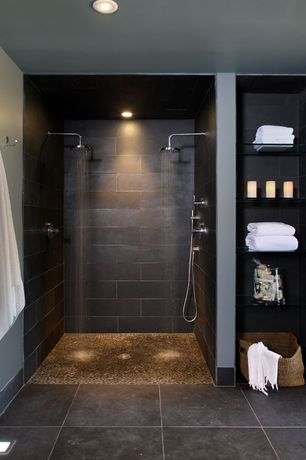 Contemporary Master Bathroom with Master bathroom, Polished Wine Pebble Tile, Custom storage with glass shelving, Rain shower