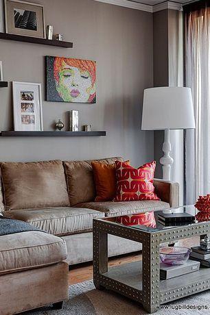 Traditional Living Room with Hardwood floors, Crown molding, Built-in bookshelf