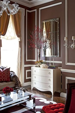 Traditional Living Room with specialty door, Crown molding, Hardwood floors, Chandelier, Wall sconce, Chair rail